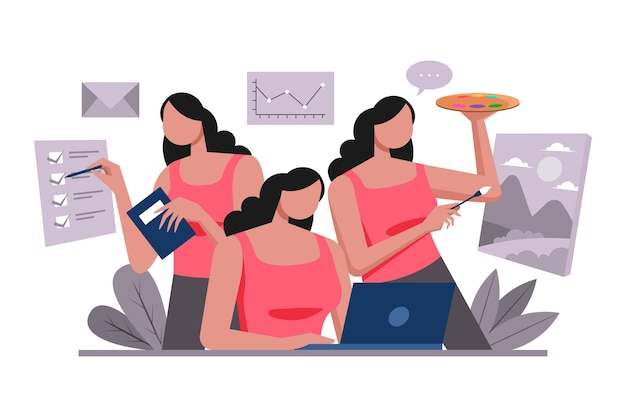 Mulher de negócios multitarefa desenhada à mão