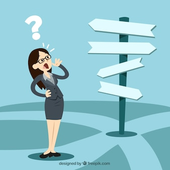 Mulher de negócios na frente de uma escolha