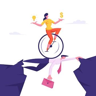 Mulher de negócios na monowheel com dólar e lâmpada
