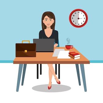 Mulher de negócios no espaço de trabalho isolado ícone do design, gráfico de ilustração vetorial