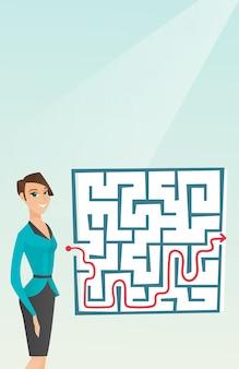 Mulher de negócios olhando labirinto com solução
