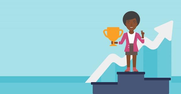 Mulher de negócios orgulhosa de seu prêmio de negócios.