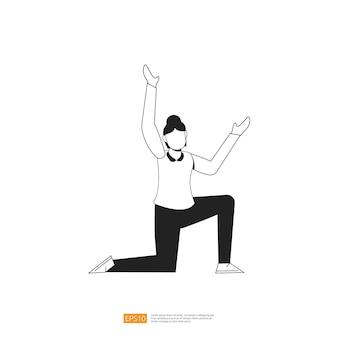 Mulher de negócios ou jovem trabalhadora pose com gesto de mão em estilo simples ilustração vetorial isolada