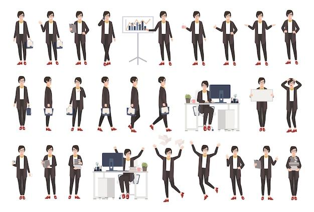 Mulher de negócios ou trabalhadora de escritório vestida com roupas inteligentes em diferentes posturas, humores, situações e expressando várias emoções. personagem de desenho animado plana. ilustração colorida do vetor.