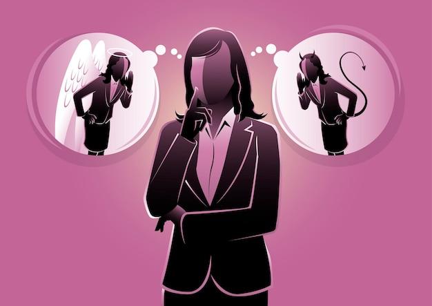 Mulher de negócios ouvindo o anjo e o demônio sussurrando em seus ouvidos