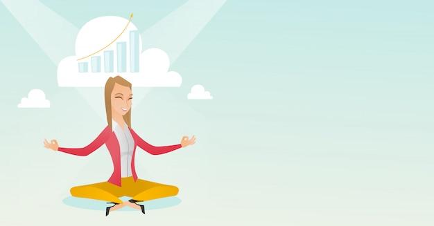 Mulher de negócios pacífica fazendo ioga.