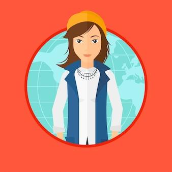 Mulher de negócios, participando no negócio global.