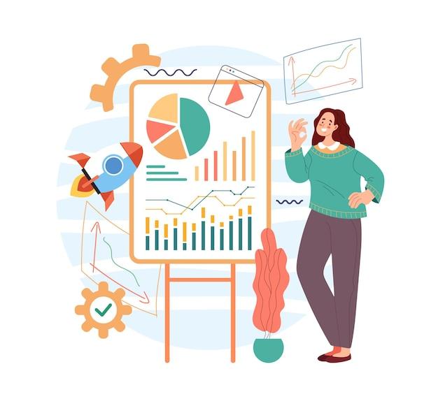 Mulher de negócios personagem de escritório apresentar conceito de gerenciamento de plano de negócios de projeto