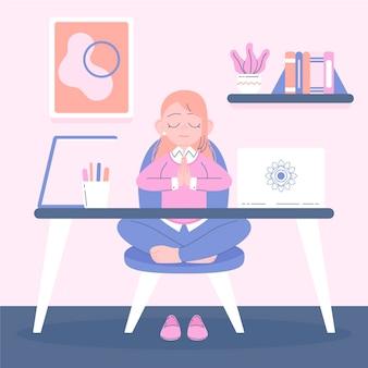 Mulher de negócios plana orgânica meditando