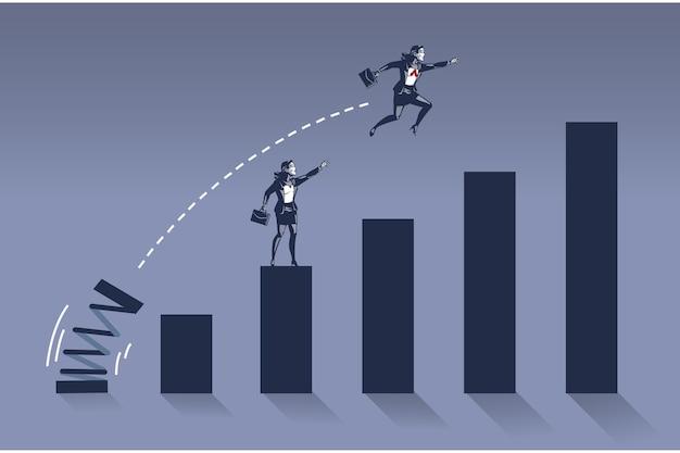 Mulher de negócios pula alto sobrepondo seu colega no conceito de ilustração de gráfico de barras
