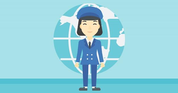 Mulher de negócios que participa no negócio global.