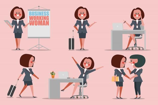 Mulher de negócios que trabalha personagens que procuram um estilo plano