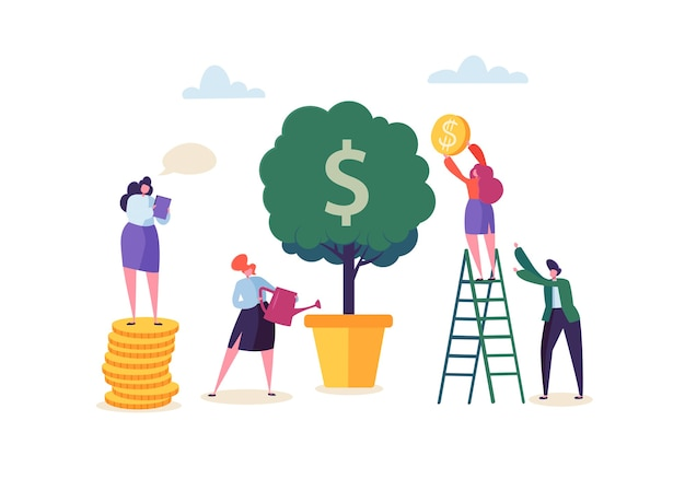 Mulher de negócios, regando uma planta de dinheiro. personagens que coletam moedas de ouro da árvore do dinheiro. pofit financeiro, investimento, banco, conceito de renda.