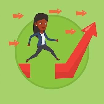 Mulher de negócios saltando sobre gap na seta subindo.