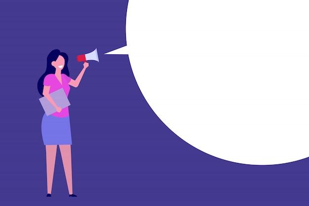 Mulher de negócios segure alto-falante ou megafone.
