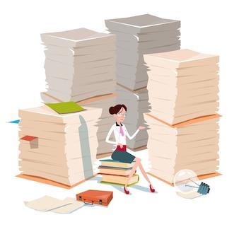 Mulher de negócios, sente-se no papel de livros empilhados