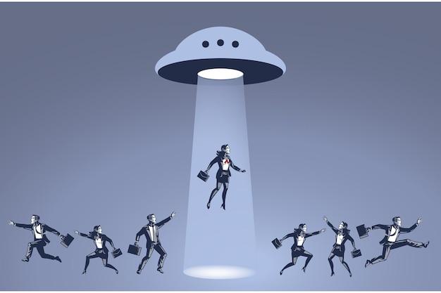 Mulher de negócios sequestrada pelo ufo blue collar concept