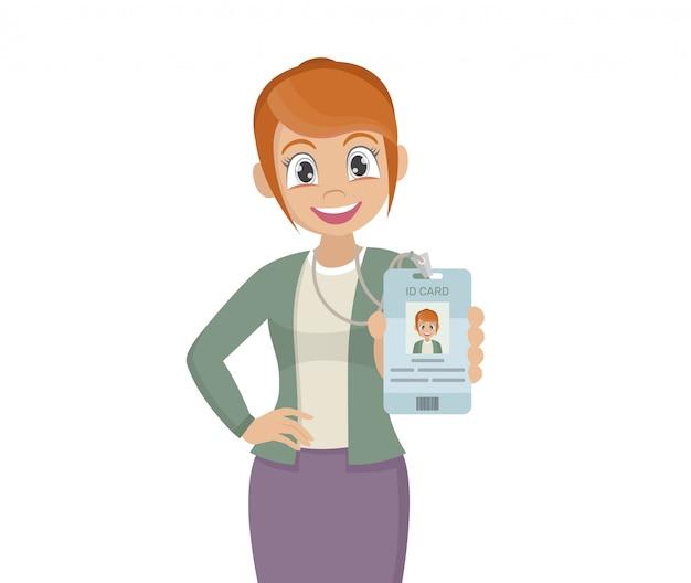 Mulher de negócios, seu cartão de identificação de crachá de marca.