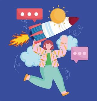Mulher de negócios startup de desenho animado