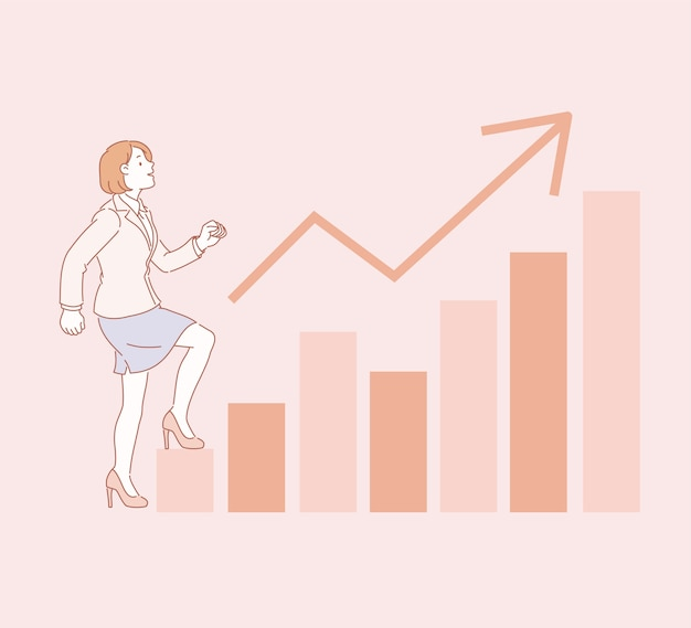 Mulher de negócios subindo gráfico gráfico na ilustração do estilo de linha