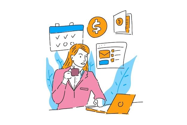Mulher de negócios trabalha online e bebe café ilustrações desenhadas