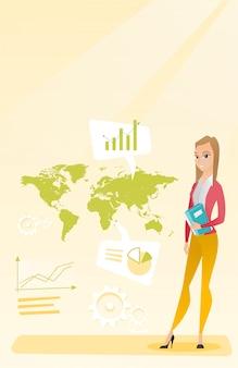 Mulher de negócios, trabalhando em negócios globais.