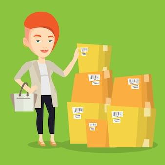 Mulher de negócios, verificando as caixas no armazém.