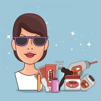 Mulher de óculos de sol com ferramentas de remoção de pêlos