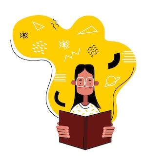 Mulher de óculos está lendo um livro. conceito de educação