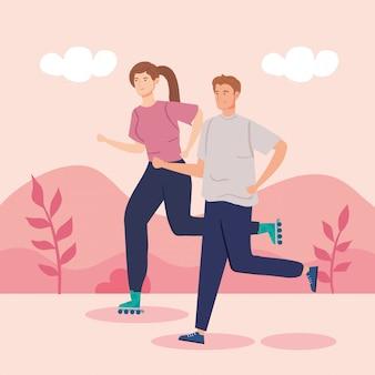 Mulher de patins e homem correndo