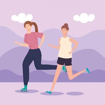 Mulher de patins e mulher correndo