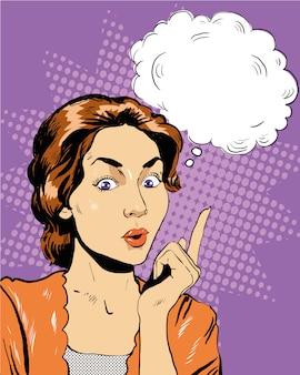 Mulher de pensamento com bolha do discurso.