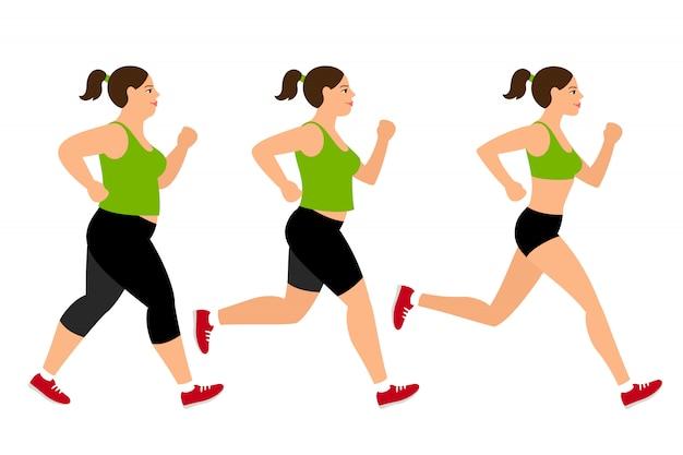 Mulher de perda de peso movimentando-se