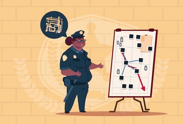 Mulher de polícia americana africano, planejamento de ação no quadro branco vestindo uniforme feminino guarda no fundo de tijolos azuis