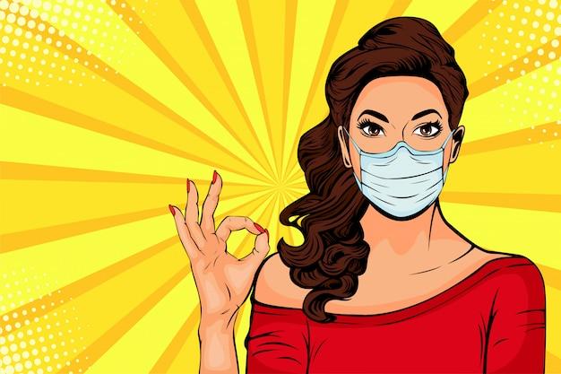 Mulher de pop art em máscara protetora. proteção contra vírus de coronavírus, covid-19
