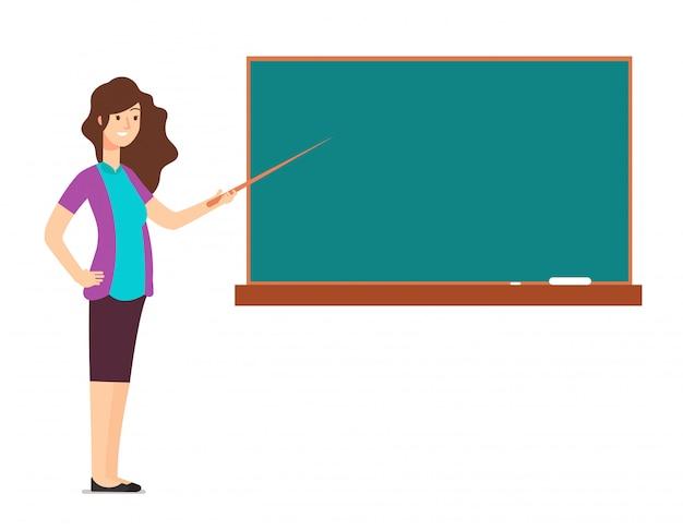 Mulher de professor de desenho animado no quadro negro, ensinando as crianças na sala de aula de escola