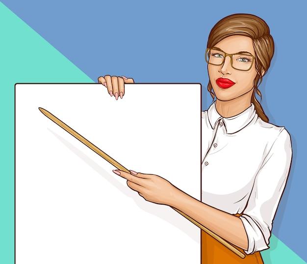 Mulher de professor vestindo óculos e camisa branca, segurando o ponteiro e cartaz em branco, ilustração em vetor retrô quadrinhos