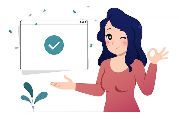 Mulher de retrato mostrando e ok pose com a janela de marca de seleção interface do usuário.