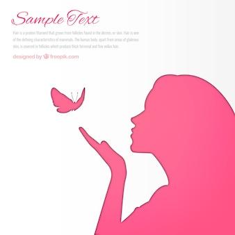 Mulher-de-rosa silhueta fundo