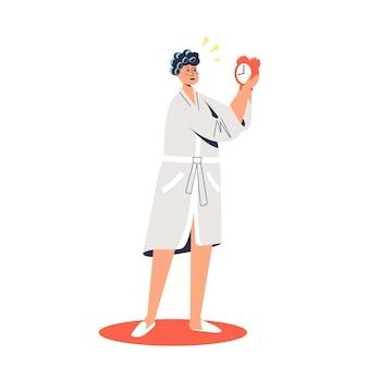 Mulher de roupão de banho e rolos de atraso segurando o despertador de manhã. personagem de desenho animado com pressa de trabalhar ou estudar
