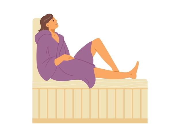 Mulher de roupão sentada em um banco de madeira na sauna a vapor quente, uma ilustração vetorial