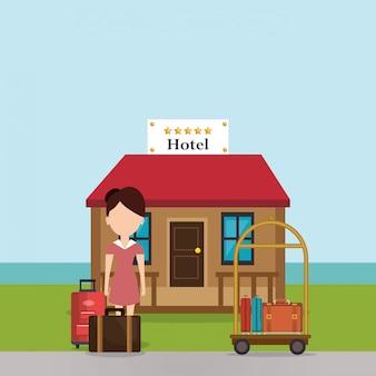 Mulher de serviço de quarto trabalhando no hotel