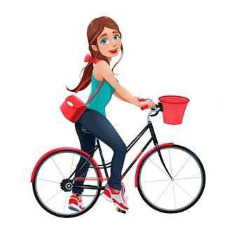Mulher de sorriso nova em um personagem de desenho animado vector bicicleta isolada