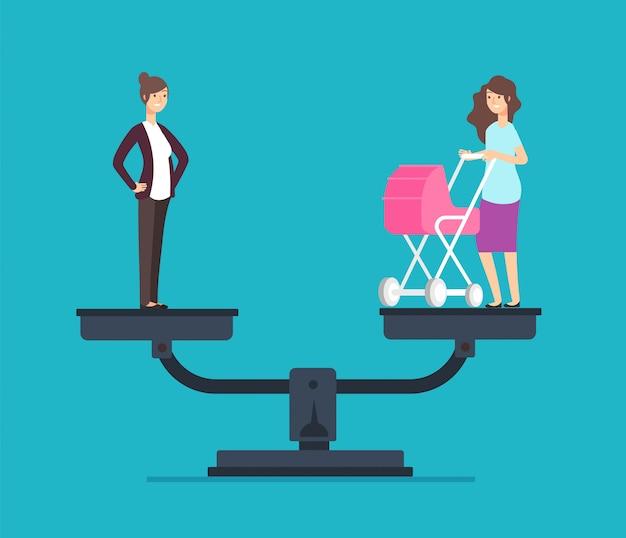 Mulher de sucesso em pé na balança, escolhendo entre carreira e família. o negócio
