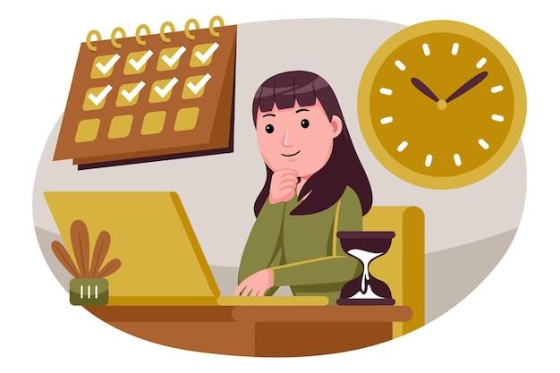 Mulher de sucesso em tarefas e tempo de controle.