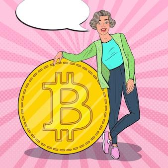 Mulher de sucesso pop art com grande bitcoin