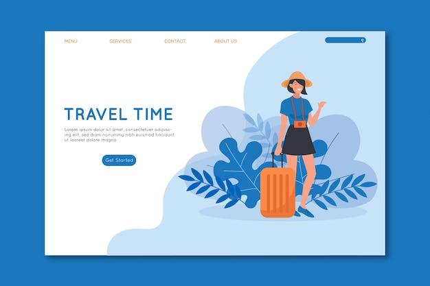Mulher de tempo de viagem com página de destino de bagagem