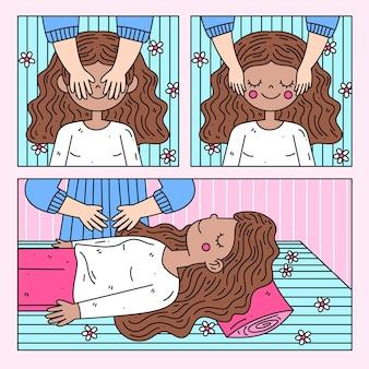 Mulher de terapia de reiki fazendo uma massagem