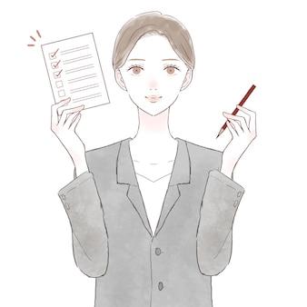 Mulher de terno com lista de verificação. sobre fundo branco.