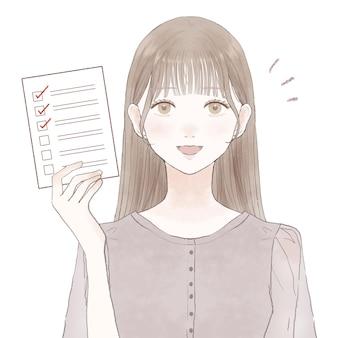 Mulher de terno com lista de verificação. sobre um fundo branco.